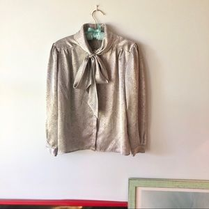 VINTAGE Silver Blouse with Pussycat Bow